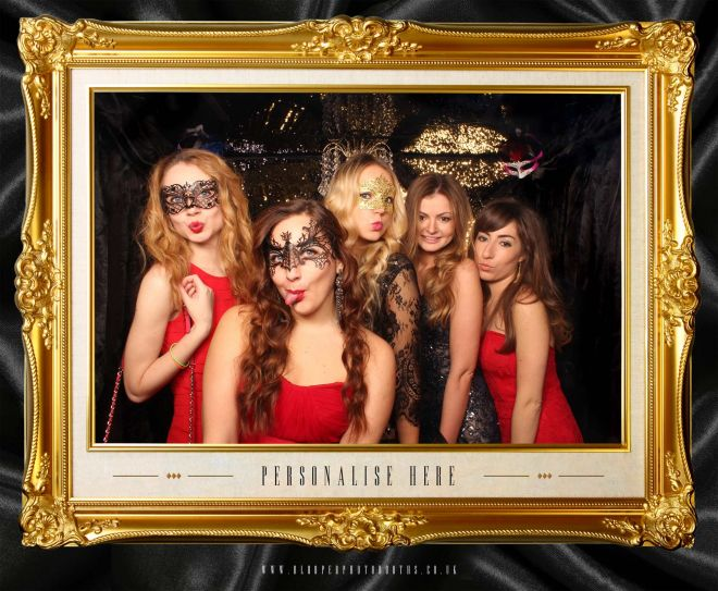 masquerade ball themed photo booth scene by Blooper Photobooths 1
