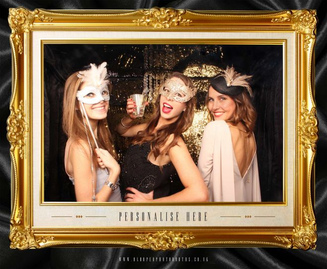 masquerade ball themed photo booth scene by Blooper Photobooths 2