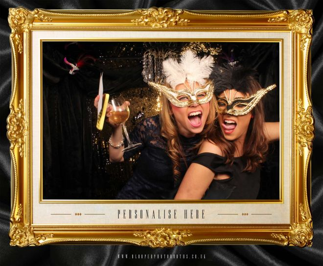 masquerade ball themed photo booth scene by Blooper Photobooths 4