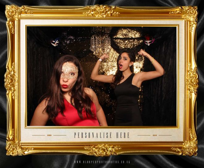 masquerade ball themed photo booth scene by Blooper Photobooths 6