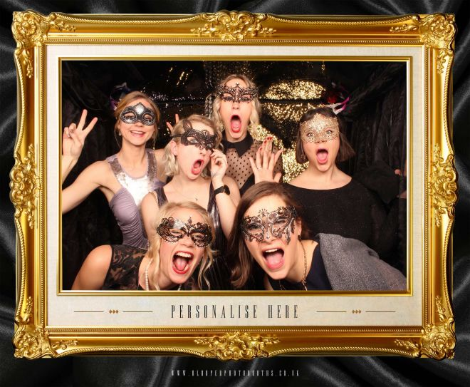 masquerade ball themed photo booth scene by Blooper Photobooths 7
