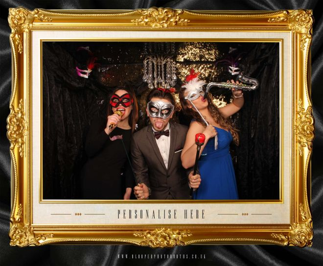 masquerade ball themed photo booth scene by Blooper Photobooths 8