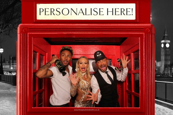 X Factor's Marcus Collins and Strictly Come Dancing's Kristina Rihanoff and Robin Windsor using the London themed phone box photo booth at the British LGBT Awards