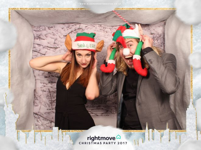 Our snowy photo booth background scenery with personalised 'Fairytale of New York' themed graphics for Rightmove