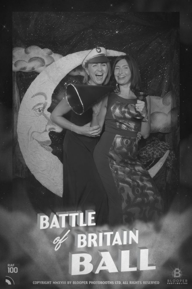 Vintage film poster graphics and a black and white photo of the Paper Moon and guests in the photo booth for a 1940s Battle Of Britain event