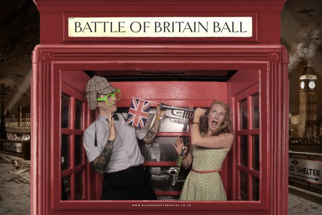 Vintage Battle of Britain themed red London phone box scenery in the axtra large Big Top photo booth