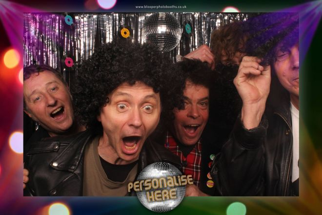 Five guys under the disco ball in the Disco photo booth