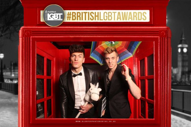 Party goers in the London themed photo booth at the British LGBT Awards