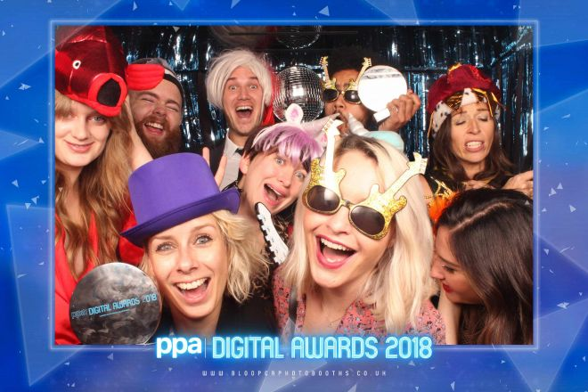 A colour customised rebranded version of our Disco themed photo booth scenery at the PPA Digital Awards