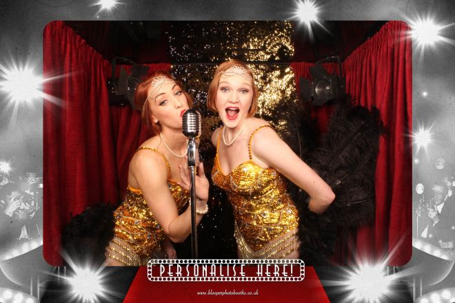 Gatsby flapper girl dancers in the vintage Hollywood themed photo booth