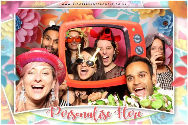 Lots of bold, colourful and flowery props inside the 3d flower themed photo booth