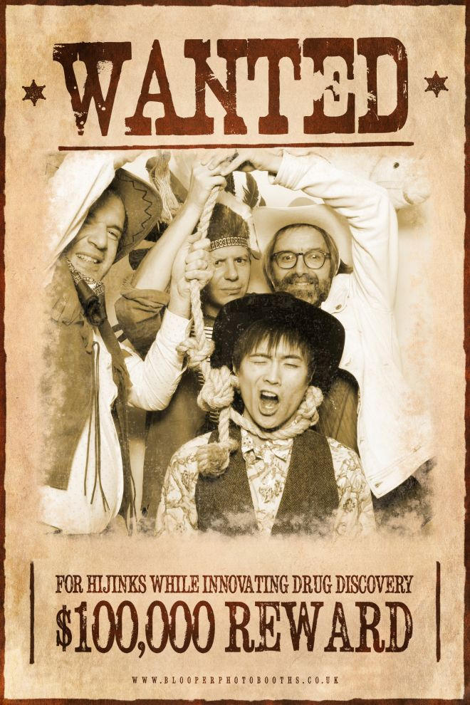 A western themed 'Wanted' poster using the plain white photo booth backdrop and digital filters to age the photo