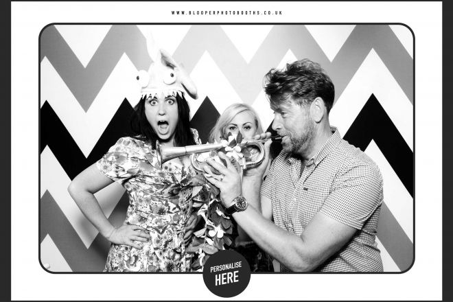 Dramatic black and white effects to match the black and white Chevron background with the Spotlight photo booth