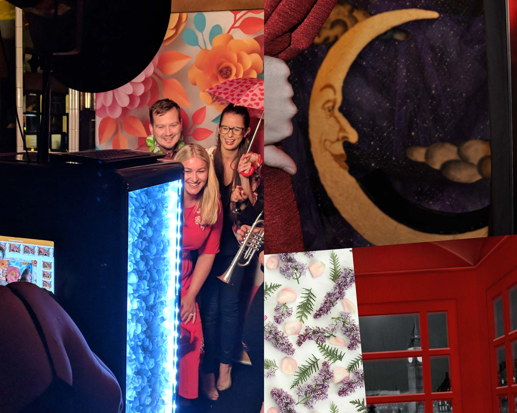 A selection of themed backdrops and scenery options for our photo booths