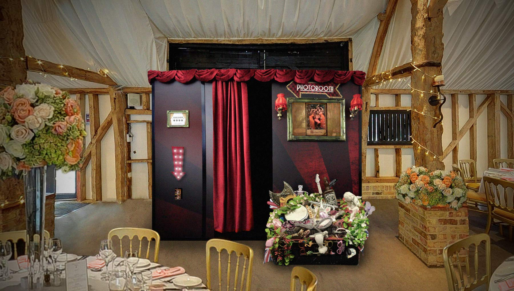 The Big Top photo booth set up for a wedding in the Tudor Barn at South Farm